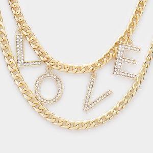 Jewelry - Love Rhinestone Pave Chain Layered Necklace
